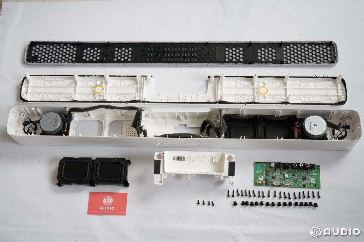 两个全频单元和四个被动单元以及使用了ti德州仪器 tas5731m数字功放