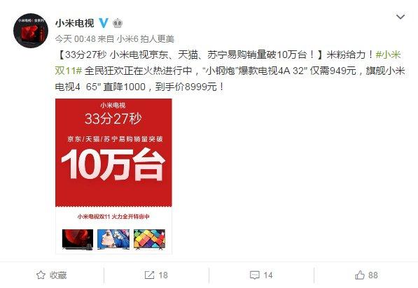 33分27秒 小米电视京东、天猫、苏宁易购销量破10万台|小米电视2017年双十一销量-货源百科88网