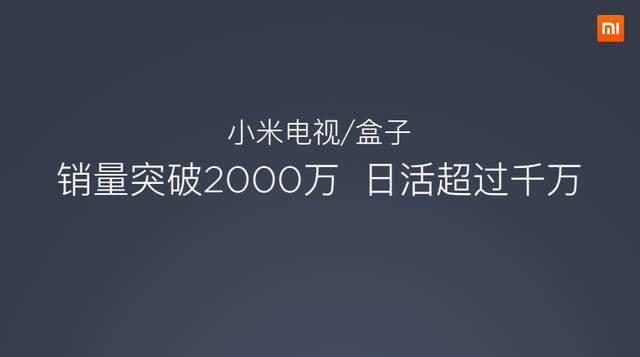 小米电视和小米盒子稳步增长,销量突破2000万台