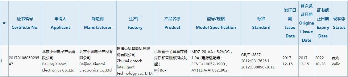 小米盒子4新品曝光 或将于2018年上市