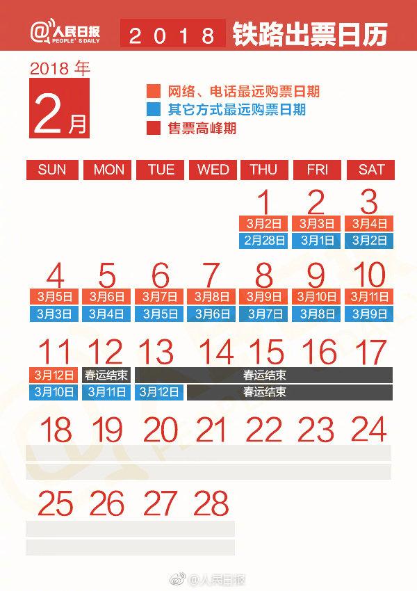 """人民日报制2018春运""""铁路出票日历"""" 你需要知道的都在这里"""