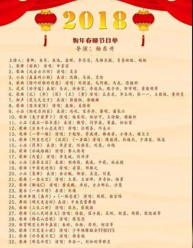 2018狗年春晚节目单曝光 赵本山宋丹丹重磅回归!