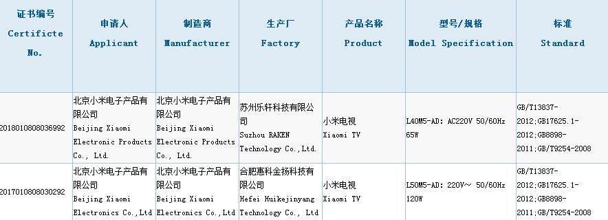 小米电视旗舰新品接连备案 有望2018春节发布上市