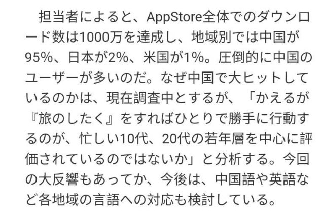 《旅行青蛙》AppStore下载量破千万 中国玩家占比近95%