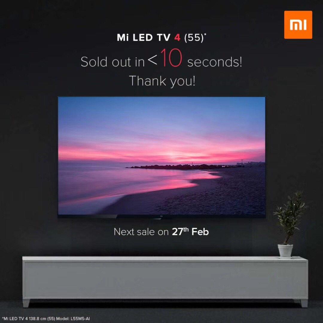 小米电视4 55吋22日印度首卖 仅10秒钟全部售罄