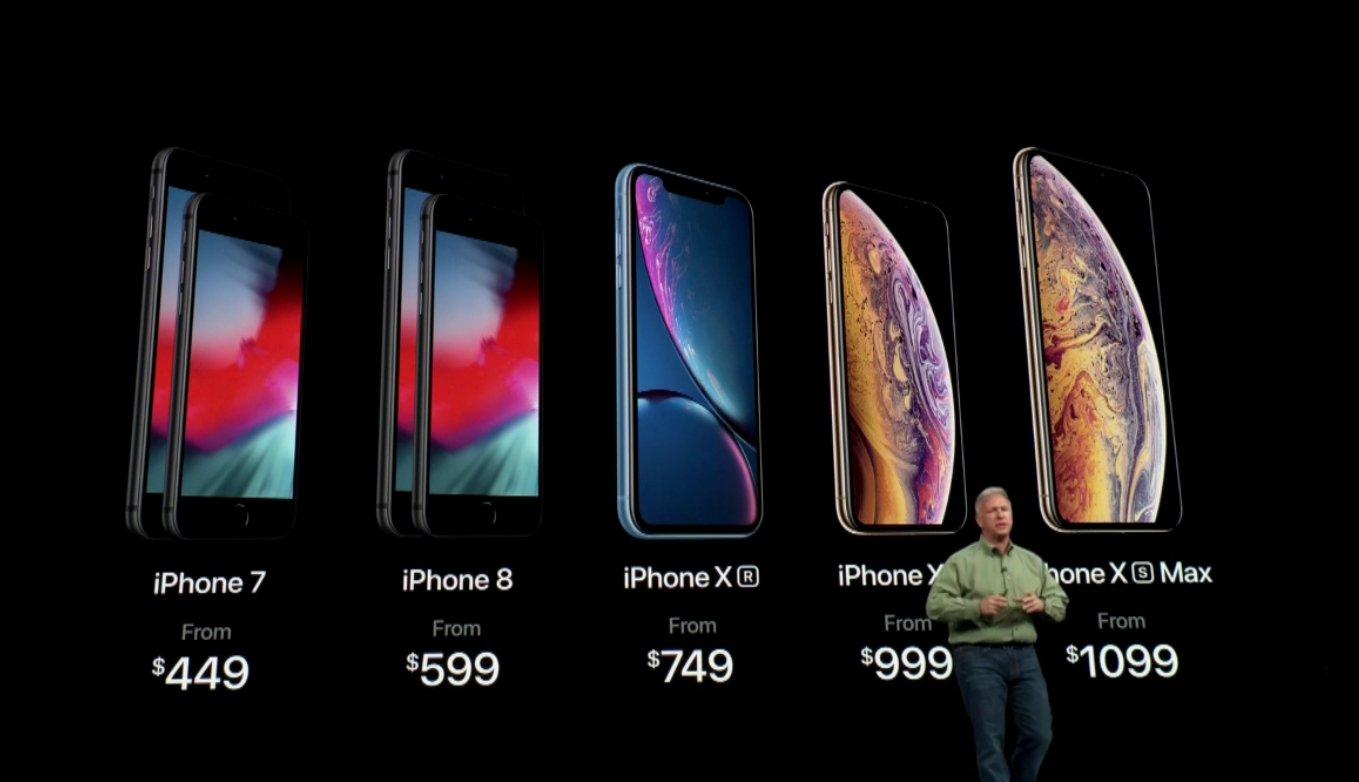 iPhone Xs/Xs Max/Xr三款手机发布 最低749美元起