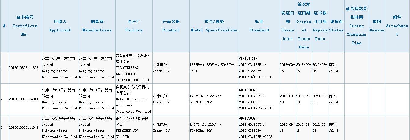 小米电视又发新品:或为小米电视4 65吋/4C 40吋/4X 43吋