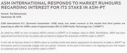 TCL集团考虑收购ASM太平洋25%股权 价值约10亿美元