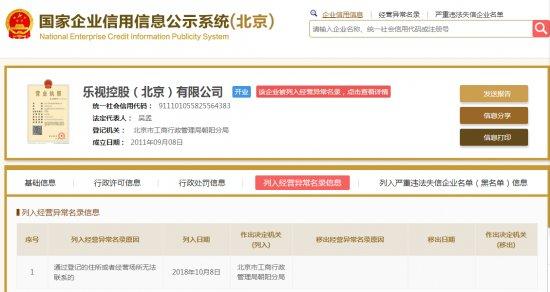 乐视控股被列入经营异常名单,贾跃亭持股超百分之90