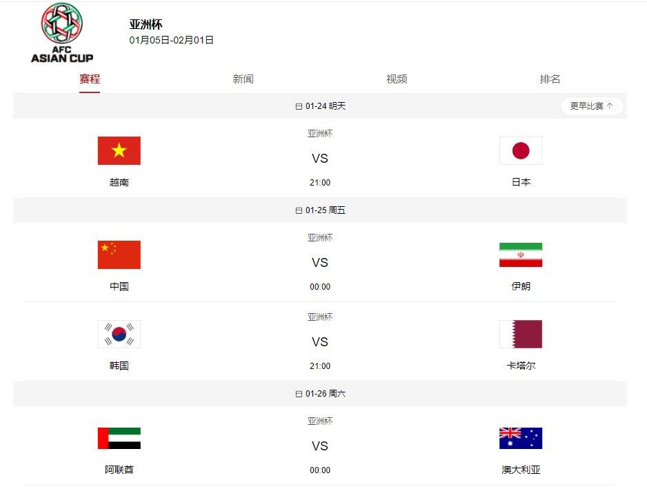 2019亚洲杯八强名单出炉四强预测,中国队25日迎战伊朗