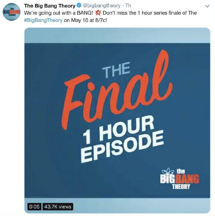 《生活大爆炸》将迎来大结局 最终集将于5月16日播出