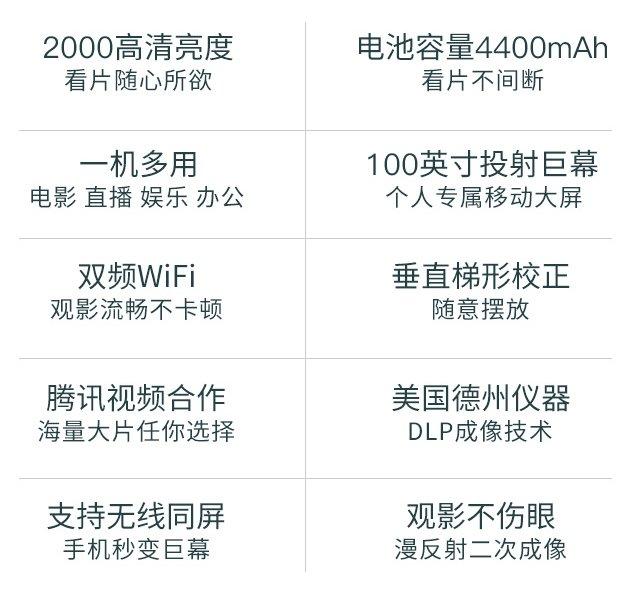 长虹Q1N微型投影仪新品首发 内置4400mAh电池可随身携带