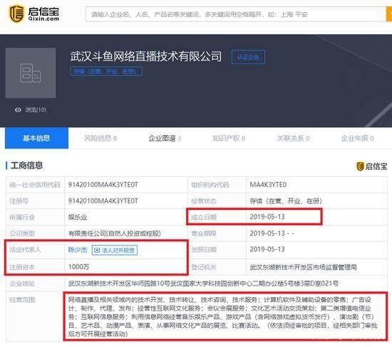 斗鱼注资1000万新成立直播公司 CEO陈少杰担任法人