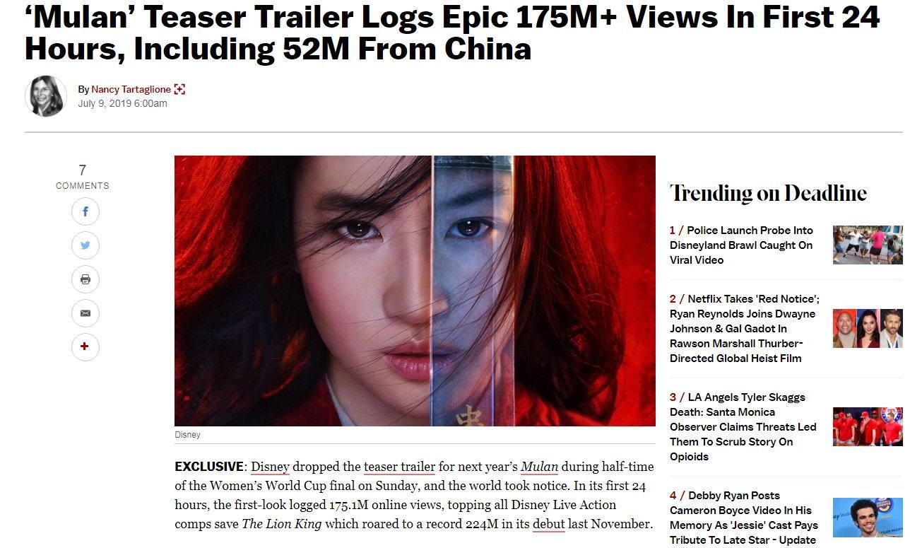真人版花木兰预告片点击量达1.75亿次 居影史第七