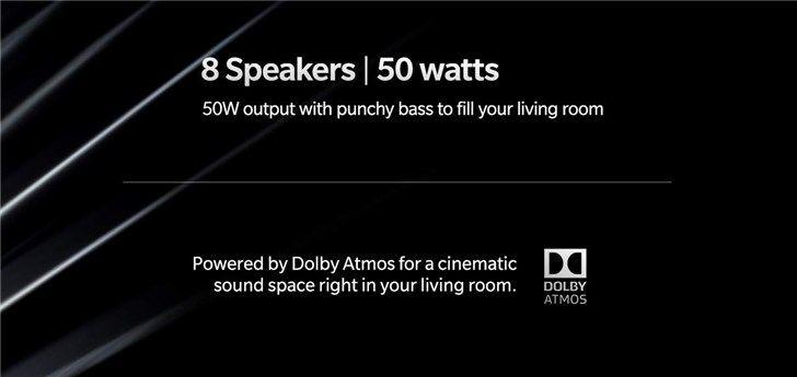 一加电视官推爆料:内置8个杜比Atmos扬声器,50W输出功率