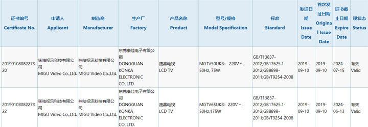 咪咕将推出MGTV系列新品电视 康佳为生产商