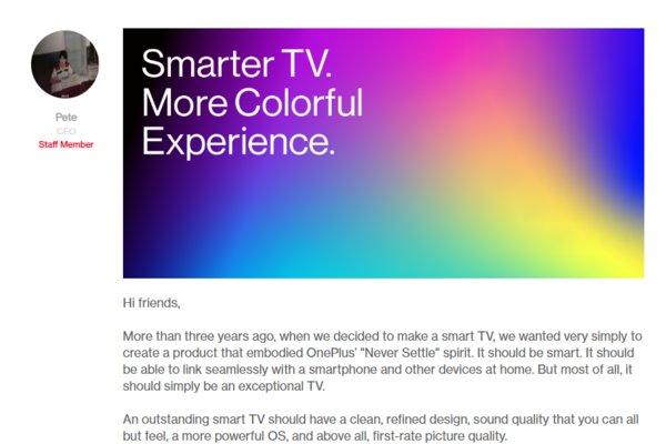 一加新款智能电视7月2日发布 拥有93%DCI-P3色域