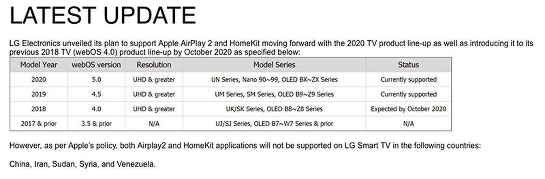 LG表示目前无计划将AirPlay2和HomeKit带到2018款电视