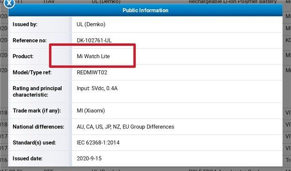 新款小米手表Lite认证曝光:价格或将更便宜