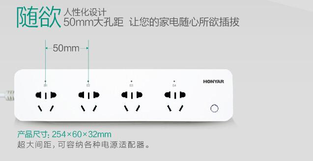 四孔位独立控制 WiFi智能插排好用便捷