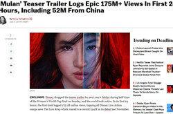 真人版花木兰预告片点击量达1.75亿